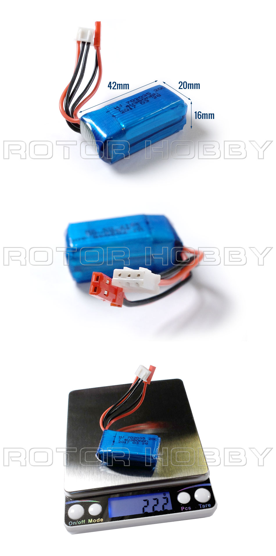 7.4V 380mAh LiPo Battery with JST connector