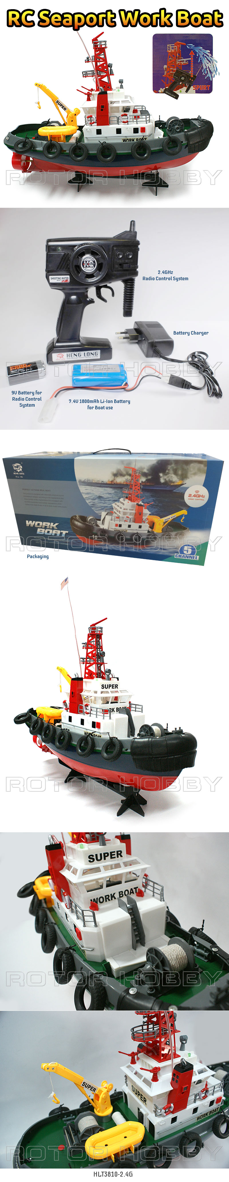 Super Detailed RC Seaport Work Boat, Electric Tugboat