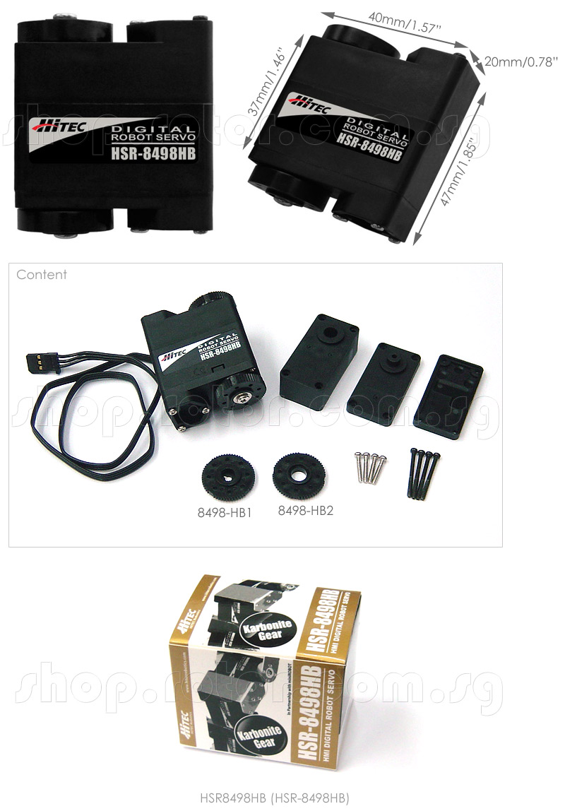 HSR-8498HB HMI Digital Robot Servo Motor (Karbonite Gear)