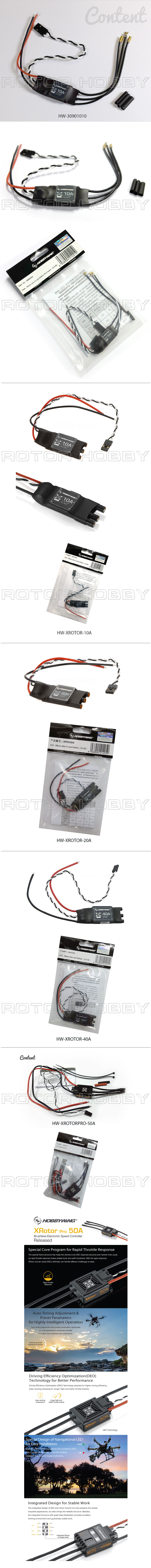 XROTOR 10A, 20A, 40A, Pro 50A ESC