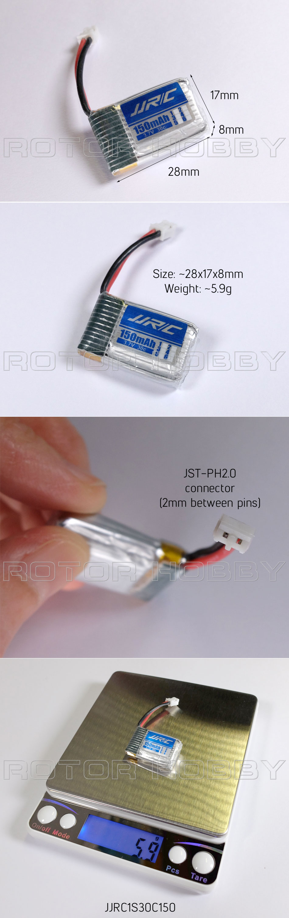 3.7V 150mAh 30C LiPo Battery with JST-PH2.0 connector