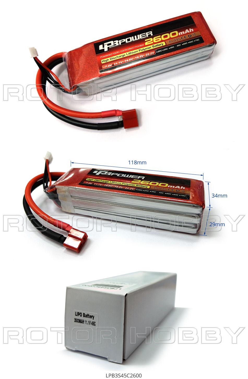 11.1V 2600mAh 45C LiPo Battery, T plug