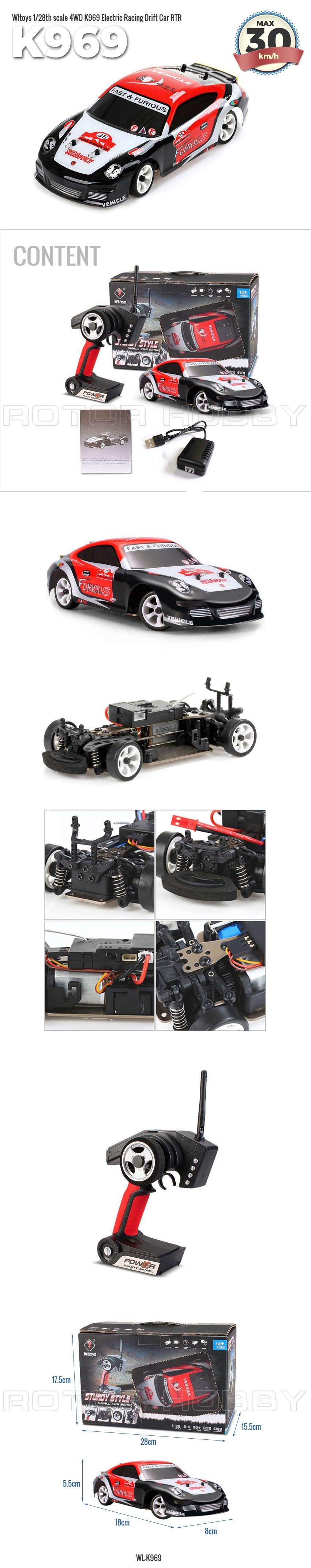 1/28th scale 4WD K969 Electric Racing Drift Car, Ready-to-Run (RTR)