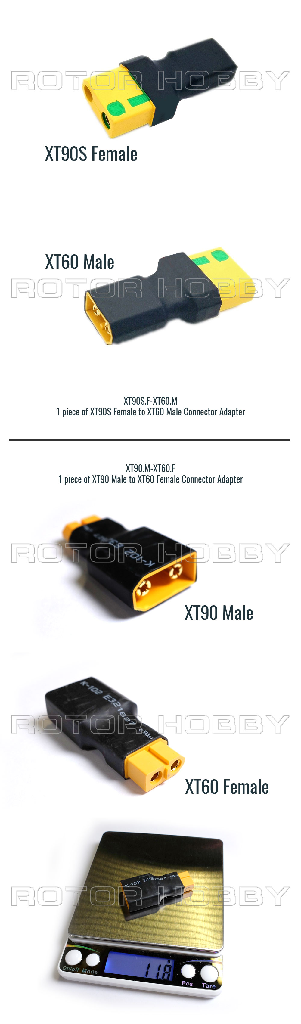 XT90 to XT60 connector adapter